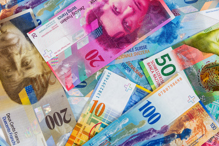 franc: Business background made of swiss franc banknotes