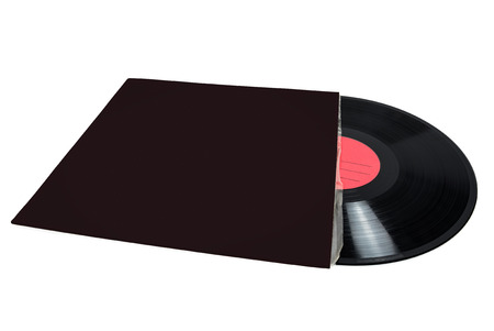 record cover: Vinyl record in blank cover isolated on white background with clipping path