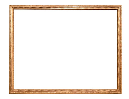 Rectangle decorative golden picture frame isolated on white background Stok Fotoğraf - 66518904