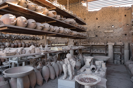finds: Archaeological finds in Pompeii, the ancient Roman city destroyed during a catastrophic eruption of the volcano Mount Vesuvius in 79 AD