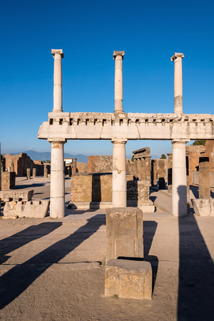 Ruins of Pompeii, the ancient Roman city destroyed during a catastrophic eruption of the volcano Mount Vesuvius in 79 AD