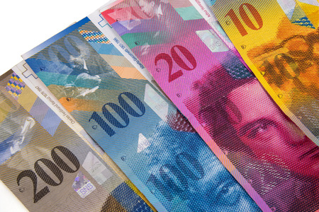 Closeup of swiss franc banknotes as nusiness background