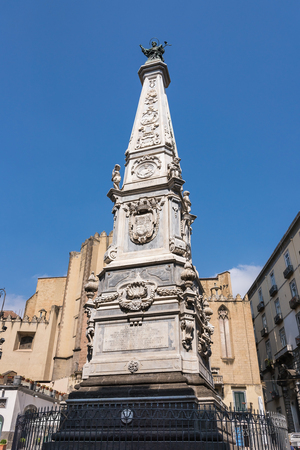 Obelisk of Immacolata called The Spire of the Immaculate Virgin in Naples Stock Photo