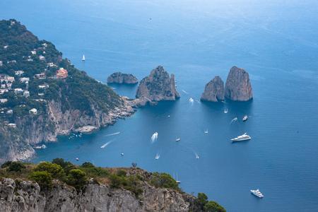 Aerial view of faraglioni rocks from Monte Solaro on Capri Island, Italy