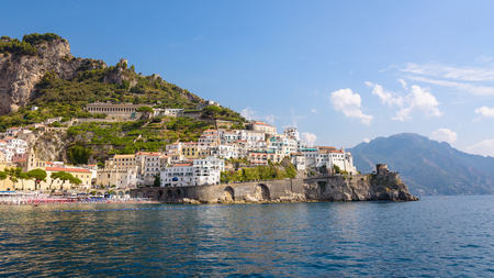 Panoramic view of picturesque Amalfi town, Campania, Italy