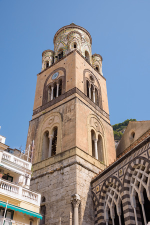The bell tower of Amalfi Cathedral dedicated to the Apostle Saint Andrew, Campania, Italy