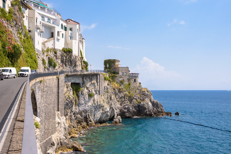 Road on the cliff in Amalfi town