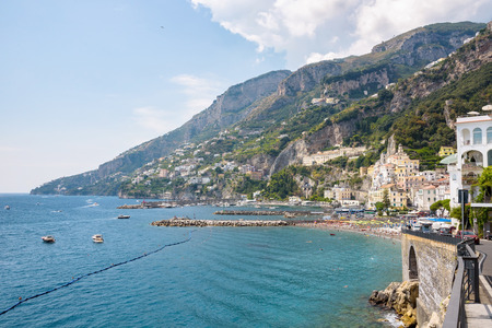 Beach and port in Amalfi town, Campania, Italy