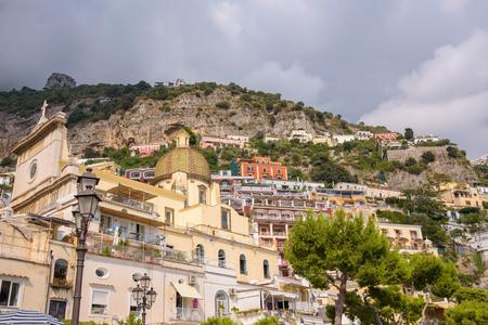tyrrhenian: Buildings on a cliffs in Positano town, Campania, Italy