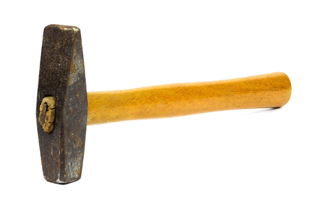 Old rusty hammer isolated on white background with clipping path Stock Photo