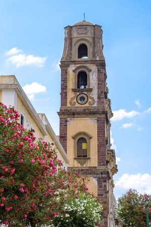 Massive square four-levelled bell tower of the Lipari Cathedral, Aeolian Islands, Italy