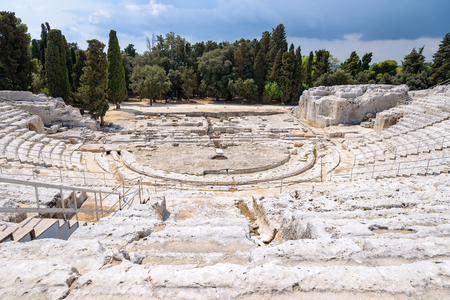 Ruins of greek ancient theatre of Syracuse, Sicily, Italy