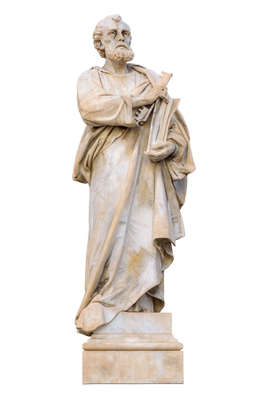 Saint Peter statue isolated on white background