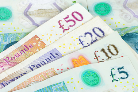 Closeup of set of english pounds banknotes. Financial background