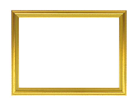 Golden decorative empty picture frame isolated on white background