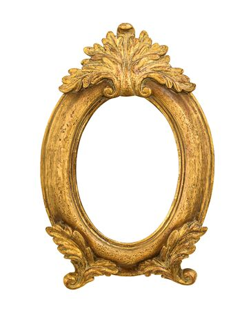 Oval golden decorative picture frame isolated on white background