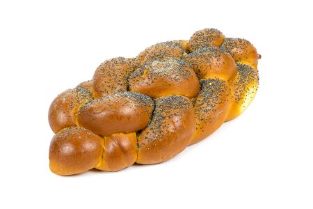 Fresh whole challah bread isolated on white background
