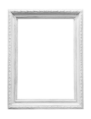 Weißer Bilderrahmen aus Holz isoliert auf weißem Hintergrund Standard-Bild