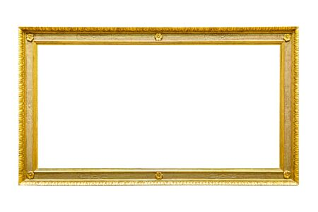 Rectangle decorative golden picture frame isolated on white background with clipping path Stockfoto