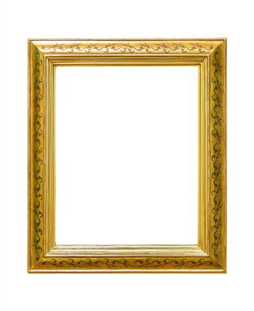 Rectangle decorative golden picture frame isolated on white background