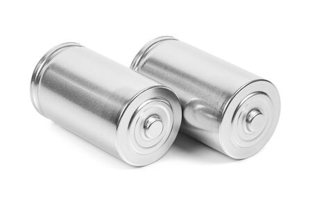 Two LR20 D size batteries isolated on white background Фото со стока
