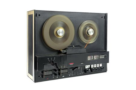 Altes Tonbandgerät isoliert auf weißem Hintergrund Standard-Bild