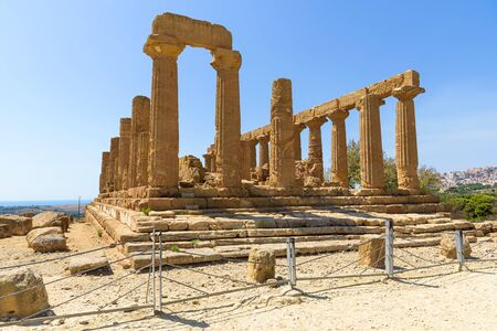 Ruins of the Temple of Juno in the Valley of the Temples in Agrigento, Sicily, Italy Stock Photo