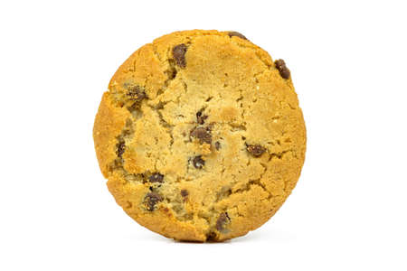 Chocolate chips cookie isolated on white background with clipping path