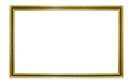 Wooden golden colored picture frame with green element isolated on white background Zdjęcie Seryjne