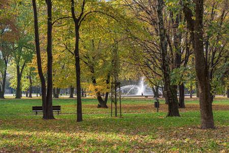 Autumn view of fountain in Swietokrzyski Park in Warsaw, Poland