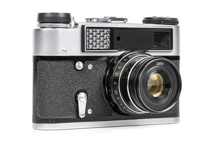 Vintage analog camera isolated on white background Stock Photo