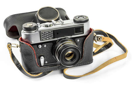 Vintage analog camera in leather case iasolated on white background with clipping path