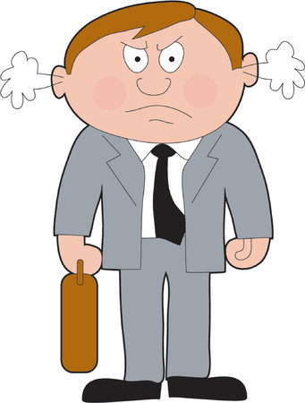 Angry business man with attache case