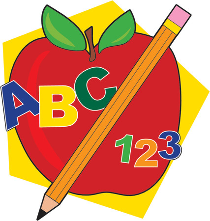 Apple with a pencil and ABCs