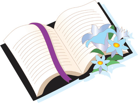 new testament: Bible with flowers