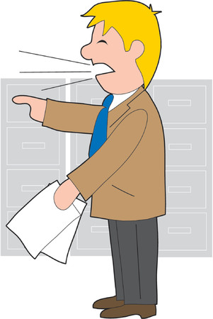 An angry businessman holding papers  and shouting
