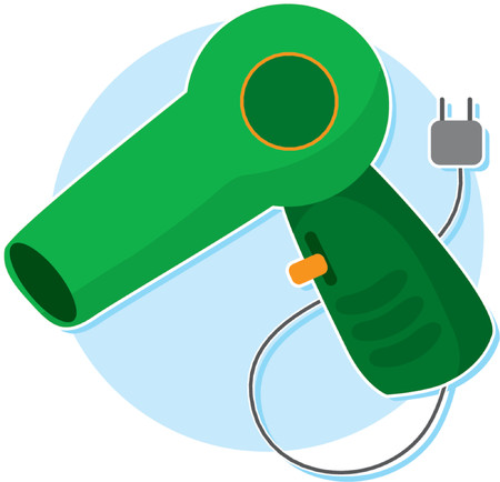 Green Blow Dryer with Plug and Cord