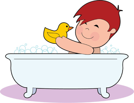 baby playing toy: Little Boy in a Tub with a Rubber Duck