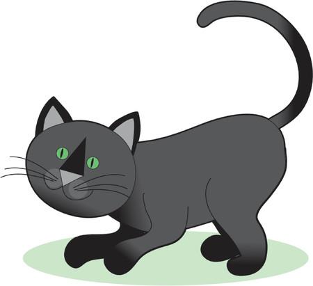 A Black Cat Crouching Ready to Play Çizim