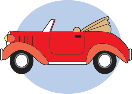 grille: A Red Classic Converible with the Top Down