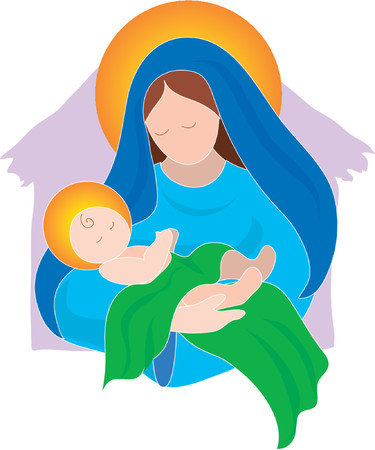 jungfrau maria: Jungfrau Maria und das Baby Jesus Illustration