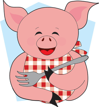 A Happy Pig holding a Fork with a Bib