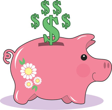 A Pink Piggy bank with Dollar Signs Vector