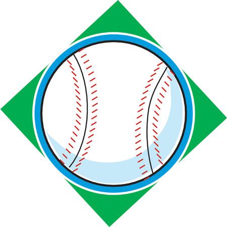 Single baseball on a green diamond background Illustration