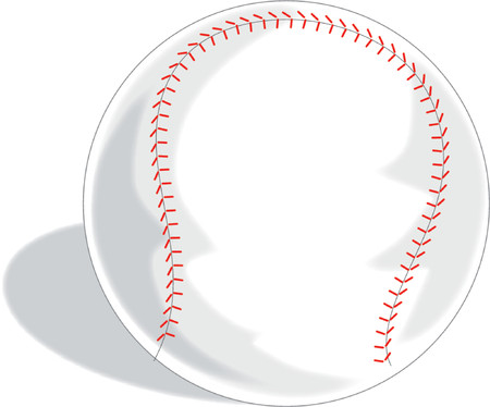 stitches: A Single baseball on a white background Illustration