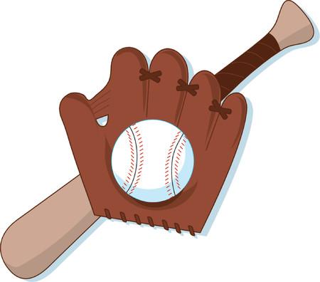 Baseball,Mitt and Bat Vector