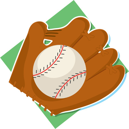 Baseball and glove on a white background Vector