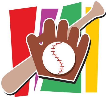 Bat, mitt and baseball on a multicolored background