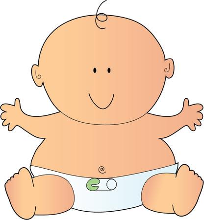 Neugeborenes Baby in einer Windel mit einer Sicherheitsnadel