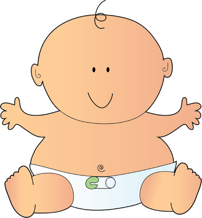 Newborn Baby in a Diaper with a Safety Pin Illustration